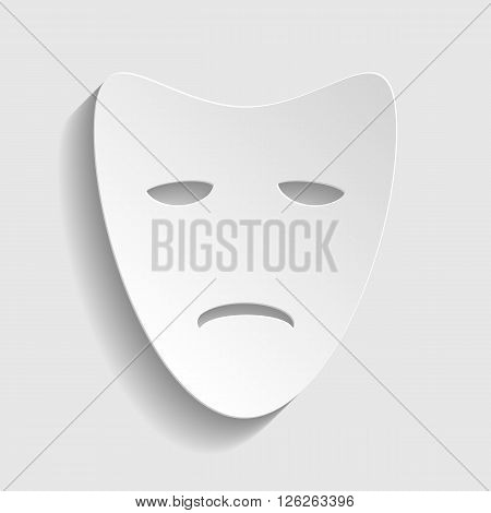 Tragedy theatrical masks. Paper style icon with shadow on gray