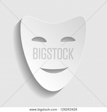 Comedy theatrical masks. Paper style icon with shadow on gray