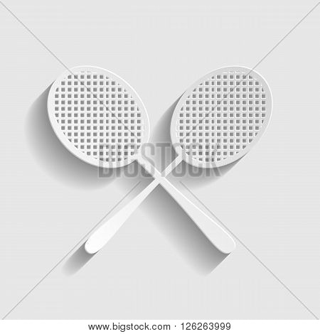 Tennis racquets icon. Paper style icon with shadow on gray