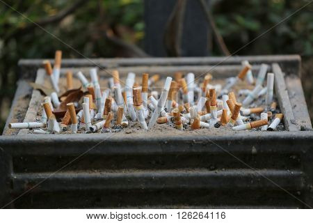 cigarette stub are dumped in the special utensildevice in the smoking area.