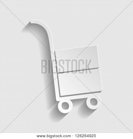 Hand truck icon. Paper style icon with shadow on gray