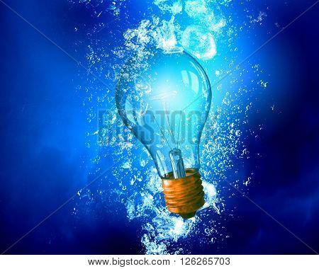 Light bulb under water