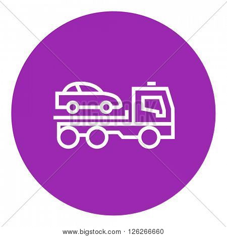 Car towing truck line icon.