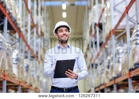 wholesale, logistic, business, export and people concept - happy man or manager with clipboard check