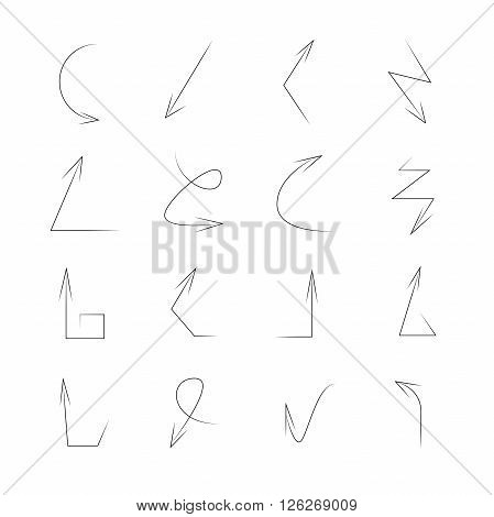 set of hand drawn arrow signs on white background