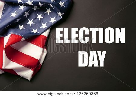 Text Election Day and USA National Flag on black background