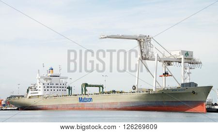 Matson Cargo Ship Navigator Docked At The Port Of Oakland.