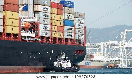 Cargo Ship Msc Brunella Entering The Port Of Oakland