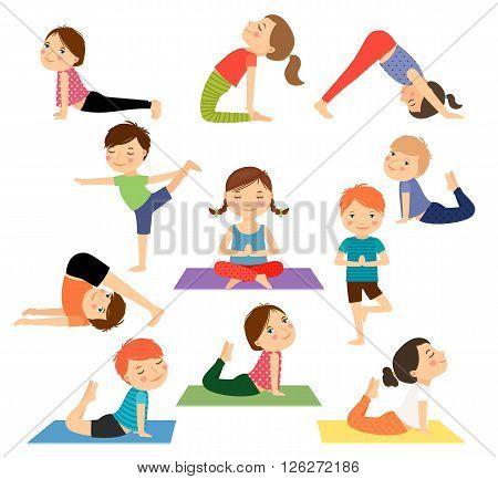 Children yoga. Kids doing yoga in different yoga poses. Vector illustration