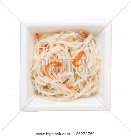 Stir fried rice vermicelli in a square bowl isolated on white background