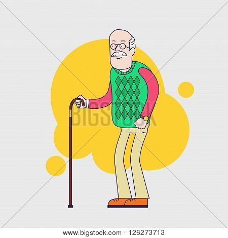 Old man with glasses, mustache and walkins cane.  Senior wearing old sweater. Vector character. Linear flat design