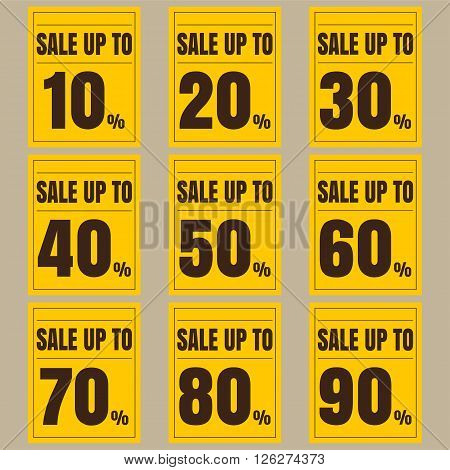 Sale discount labels. Special offer price signs. 10 20 30 40 50 60 70 80 and 90 percent off reduction symbols.
