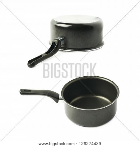 Teflon coated black sauce pan isolated over the white background, set of two different foreshortenings