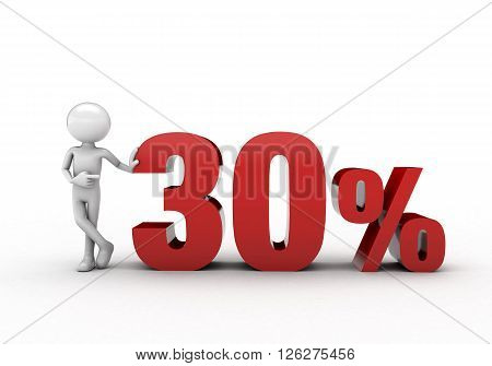 3D character with 30% discount sign white background