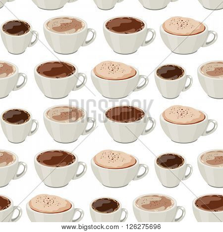Seamless pattern with cups of coffee. Endless texture for your design,restaurant and cafe menu.