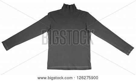 Black t-shirt with long sleeves isolated on white.