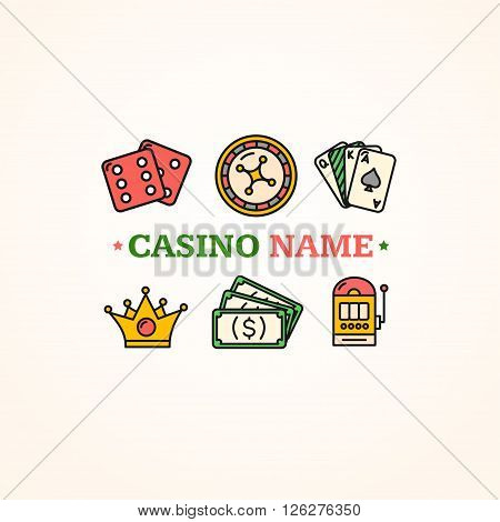 Casino Concept Poster. Place For Name. Vector illustration