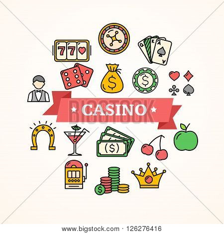 Casino Concept Poster with Color Icon. Vector illustration