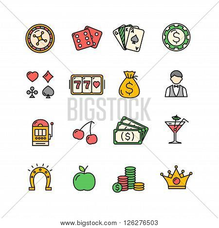 Casino Icon Color Set on a White Background. Vector illustration