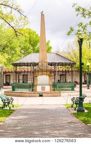 Monument at Santa Fe Plaza New Mexico USA