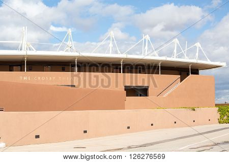 Santa Fe, USA - May 6, 2015: Modern architecture of The Crosby Theatre in New Mexico USA