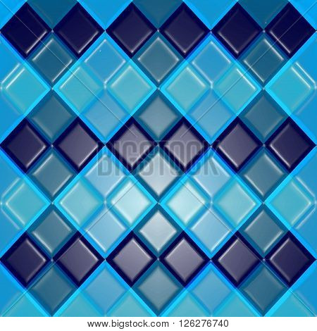 Background of blue rhombuses as tiles. Tiles vector texture