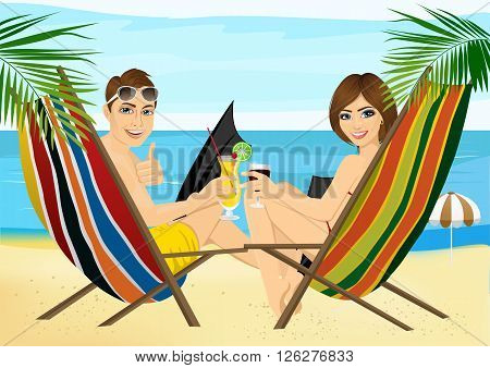 back view of young couple sitting in deck chairs on the beach toasting with cocktail and glass of red wine