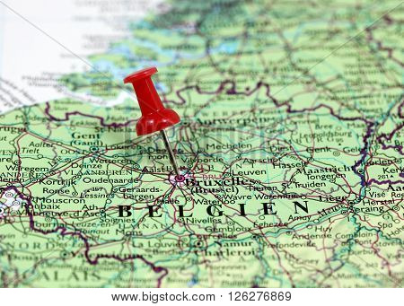 Map with pin point of Bruxelles in Luxembourg