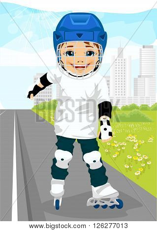 boy wearing helmet skating on rollerblades on sidewalk along the road