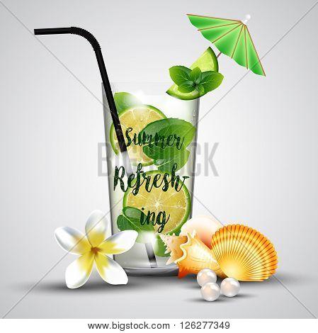 Illustration of Summer refreshing tropical lemonade background