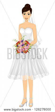 Illustration of a Bride Wearing a Short Wedding Dress