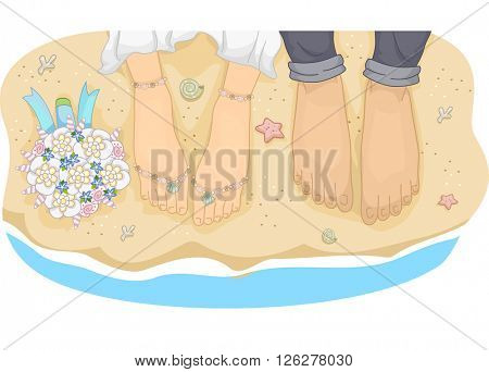 Illustration of a Newlywed Couple Standing by the Beach