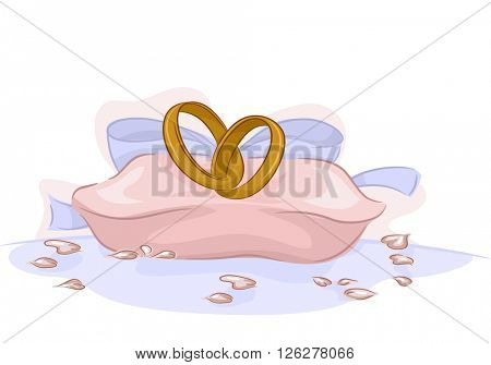 Illustration of a Pair of Wedding Rings Sitting on a Pink Cushion