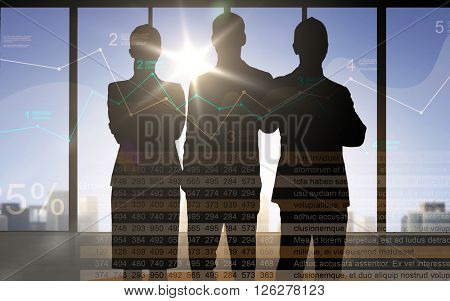 business, finances, statistics, economics and people concept - business people silhouettes over double exposure office background with charts and numbers