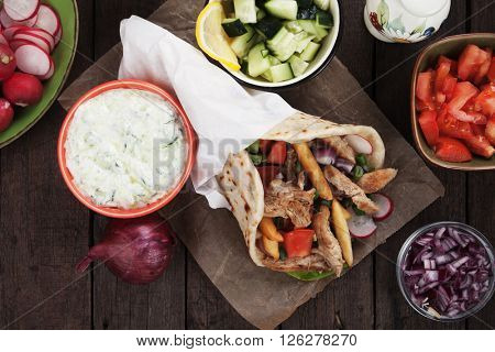 Chicken doner kebab, turkish street food similar to greek gyros