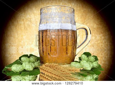 been drinking a glass of beer with barley and hops -  3D ender