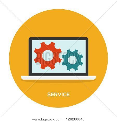 Laptop with wheels on screen. Maintenance service illustration