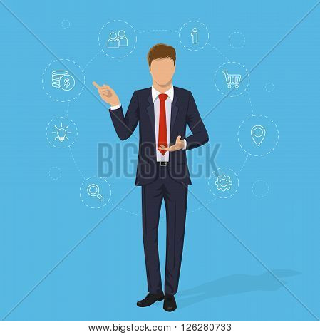 Young businessman. Businessman in suit on isolated blue background. Set of business icons. Elegant man in business suit. Cartoon businessman. Vector illustration businessman in trendy flat design