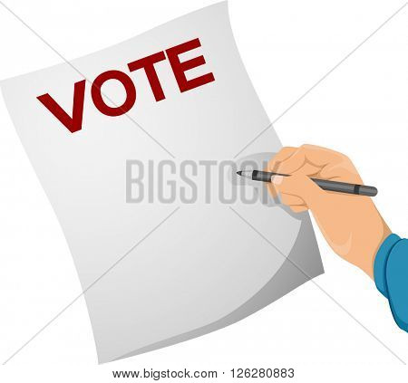Illustration of a Man Writing on a Ballot