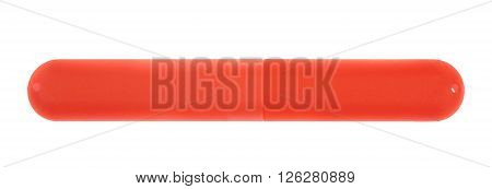 Red plastic toothbrush case box holder isolated over the white background