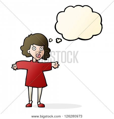 cartoon nervous woman with thought bubble
