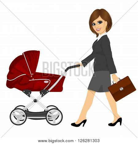 business woman with briefcase pushing pram, baby carriage or stroller isolated on white background