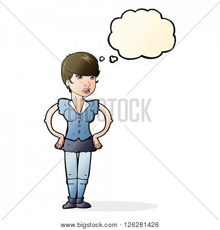 cartoon woman with hands on hips with thought bubble