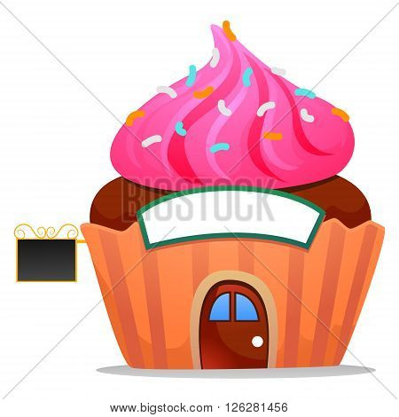 Vector Illustration of Cute Cupcake as Cafeteria