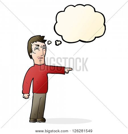 cartoon angry man pointing with thought bubble