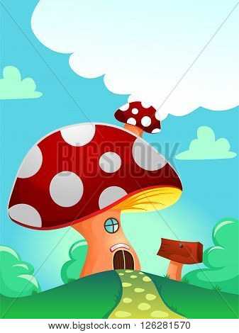 Vector Illustration of Red Mushroom as House with blank wood signage outside