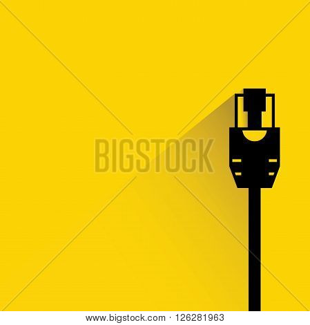 cable plug icon with drop shadow on yellow background