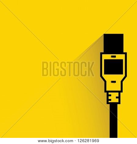 usb plug icon with drop shadow on yellow background