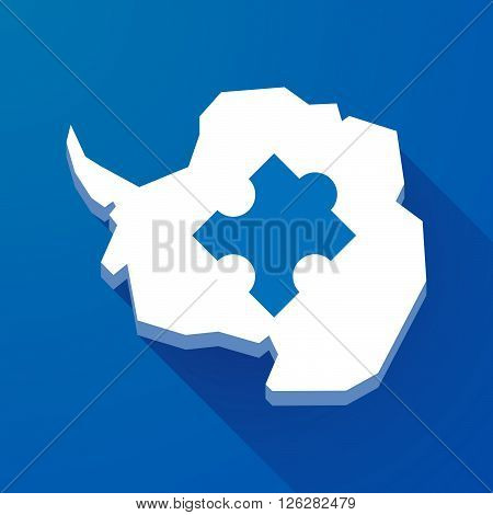 Long Shadow Map Of Antarctica Continent With A Puzzle Piece