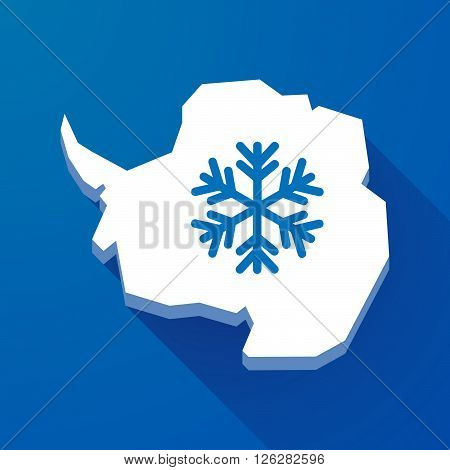 Long Shadow Map Of Antarctica Continent With A Snow Flake